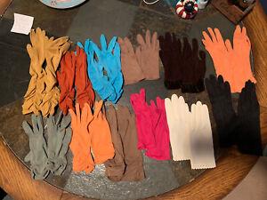 Vintage Ladies Gloves Lot Of 12 Pairs Mulit Colored.
