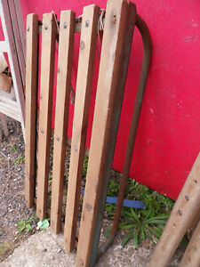 Vintage wooden sledge with metal runners / frame - garden pot holder / feature