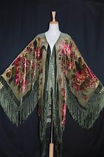 Art to Olive Green Flower Burnout Velvet Fringe Kimono Opera Coat Duster Jacket
