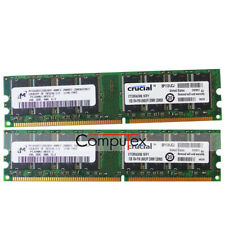 Micron 2GB 2X1GB PC3200U DDR-400 184Pin DIMM Non-ECC Desktop Memory Low Density