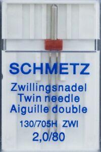Schmetz Zwillingsnadeln, Flachkolben, Doppelnadel, 2,0mm breit