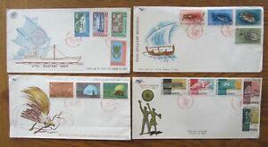 Indonesia, 4 First day covers. 1962-66, Birds, Fish, Asian games, Hari Bahari