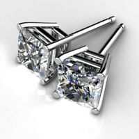2.00 Ct Princess Cut Solitaire Diamond Earring Stud 14K Solid White Gold Studs