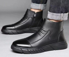 Mens Casual Fashion Faux Leather Mid Top Ankle Boots Autumn Business Bootie Shoe