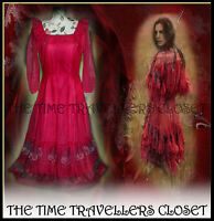 True Vintage Clive Byrne 60s Red Gypsy Prairie Tiered Calf Length Dress UK 10 12