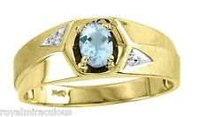 Mens Genuine Color Stone Ring Sterling Silver / Gold Plated -December Blue Topaz