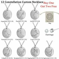 12 Constellations Personalized Custom Pendent Name Necklace Stainless Steel Gift