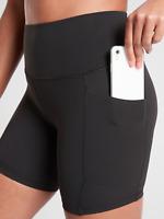 "Athleta Salutation 5"" Stash Pocket Short II, SMALL S Black Yoga Pockets NWT"