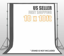 10 x 10 ft Photography Gray + White Backdrop Background Photo Stand Muslin Kit