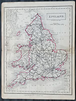 1833 Sydney Hall Antique Map of England & Wales with roads and railways