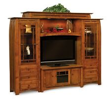 Amish Wall Unit Entertainment Center Arts & Crafts Solid Wood Boulder Creek