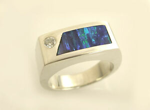 MENS  OPAL RING WITH MOISSONITE IN STERLING SILVER