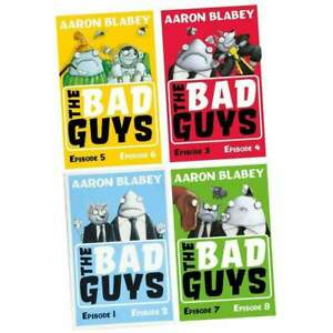 The Bad Guys 4 Books Collection Set (Episode 1 to 8) By Aaron Blabey NEW