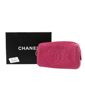 CHANEL Multi Mini Pouch Pink Caviar Skin Leather Vintage Authentic #AC93 O