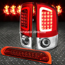 RED 3D LED BRAKE TAIL LIGHT+RED 3RD THIRD BRAKE CARGO LIGHT FOR 02-05 DODGE RAM