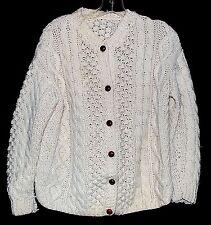 Fishermen Irish Cable Knit Cream Thick Womens Cardigan Sweater Size Medium