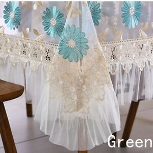 Table Cover Tablecloth Home Rectangle Lace Embroidered Floral Ruffled Sheer Chic