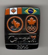 RIO 2016. OLYMPIC & PARALYMPIC GAMES. NOC PIN.CANADA, BRAZIL AND CANADA FLAGS