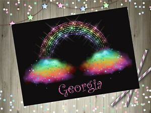 Personalised Name Rainbow Bright Stay Safe A4 Laminated Kids Placemat Childrens