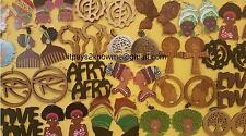 BULK African American Black woman wooden earrings 50 PAIR