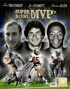 Fred Biletnikoff Jim Plunkett Marcus Allen Signed Super Bowl MVP 8x10 PSA