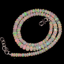 "56CRTS 4.5to6MM 18"" ETHIOPIAN OPAL FACETED RONDELLE BEADS NECKLACE OBI2141"