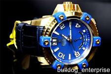 Mens Invicta Reserve Arsenal Blue MOP Swiss Gold Plated Leather Watch New 1727