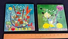 """Pair of Ceramic Tile Cocktail Kitchen Art 8"""" x 8"""" Hand Painted"""