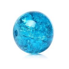 50 LOOSE BLUE CRACKLE GLASS BEADS~10mm - Bracelets~Necklace~Earrings (B12) UK