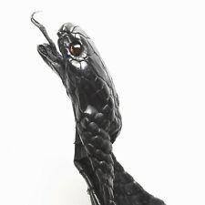 Asia Spitting Cobra Snake Skin Snakeskin Hide Leather Black