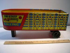 Vintage MARX Toys Tri-State Hauling Trailer Lithograph Tin Metal. Excellent Cond