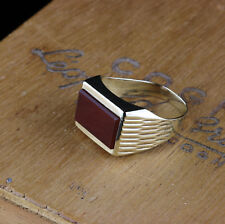 Ring Herren Gold 333 Karneol Ringgröße 19,1 mm 60 Art Deco
