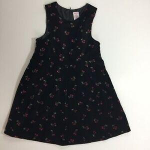 Gymboree Sz 6 Holiday Magic Cherry Black Velveteen Jumper Dress Christmas
