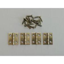 4 Stück Schatullenscharniere zum Schrauben 17 x 20 mm vermessingt