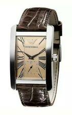 Emporio Armani Men's Brown Leather Strap Watch AR0154