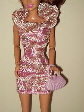 Barbie Doll Clothes Dress Fashionistas Glam Sparkly White & Gold Overlay D06