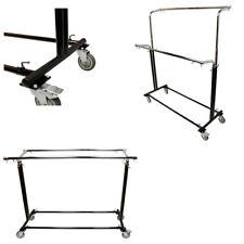 Adjustable Retail Garment Display Rack Clothing Clothes Hanger Double Bar Wheels
