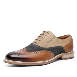 Retro Classic Style Mens Lace-Up Business Shoes Leather Pointed Toe Oxford Shoes