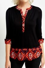 Red pattern  Blouse inset black top three quarter sleeves turn  up cuffs size16