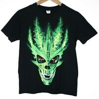 Green Cool Skull Action Croatia Kids Unisex T-Shirt Size Youth XL Black