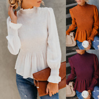 US Stock Womens Ladies Long Sleeve Loose Blouse Casual Shirt Autumn Tops T-Shirt