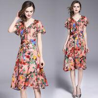 "2018 spring/summer women's fashion temperament ""V""neck printing A-line Dress"