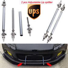 "Silver Adjustable 6.9"" -8.2"" Front Bumper Lip Splitter Rod Strut Tie Bar Support"