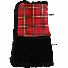 Mirage Pet Products Luxurious Plush Pet Blanket Red Plaid 1/2 Size