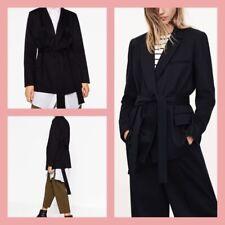 Zara 8089/758 Navy Blue Belted Blazer Coat Jacket Size S BNWT
