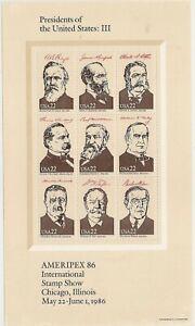 US 2218 Ameripex'86 Presidents 22c sheet MNH 1986