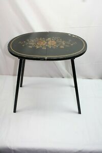 Mid-Century L. Hitchcock Stenciled Hinged Folding Table Stand Free Shipping