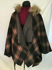 Mitchie's Wool Blend - Plaid Poncho Cape Sweater w Genuine Coyote Fur - OSFA