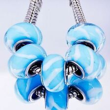 5pcs Silver Filled Murano Glass Teal Lampwork Charm Bead Loose Bracelet 7.5