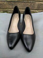 Clarks Somerset, Ladies black Leather Court Shoes, Size Uk 5.5/Eu 39 D
